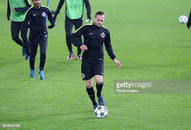 Laurens De Bock of FC Brugge during the training session at King Power Stadium ahead of the Champions League match between Leicester City and FC...