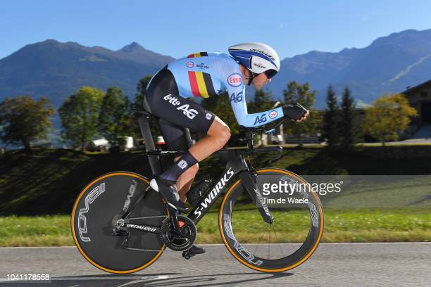 Laurens De Plus of Belgium / during the Men Elite Individual Time Trial a 525km race from Rattenberg to Innsbruck 582m at the 91st UCI Road World...
