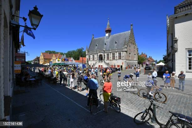 Laurens De Vreese of Belgium and Team Alpecin-Fenix & Remco Evenepoel of Belgium and Team Deceuninck - Quick-Step The Peloton passing through Damme...