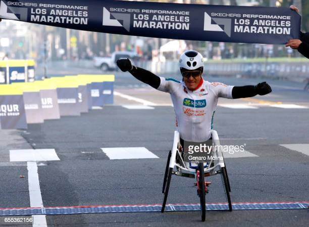 Laurens Molina of Costa Rica is the winner of the wheelchair division of the 32nd annual Los Angeles Marathon in Santa Monica on March 16 2017
