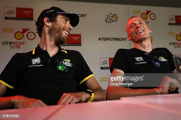 Laurens Ten Dam and Robert Gesink of the Netherlands riding for Team LottoNL-Jumbo prepare to address the media during a press conference ahead of...