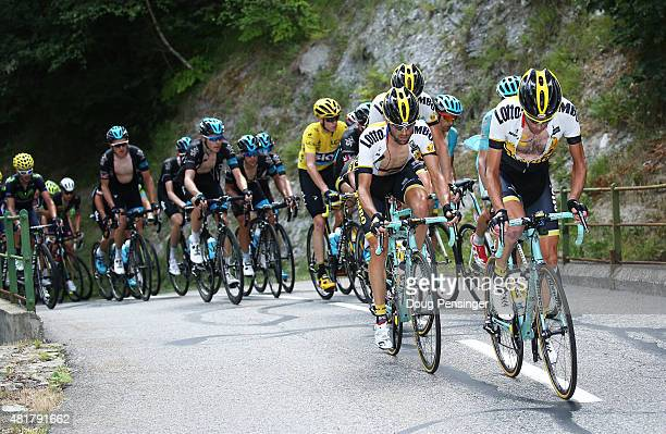 Laurens Ten Dam of the Netherlands and team Lotto NLJumbo leads the group of the yellow jersey in Col de la Croix de Fer in the town of La Chal...