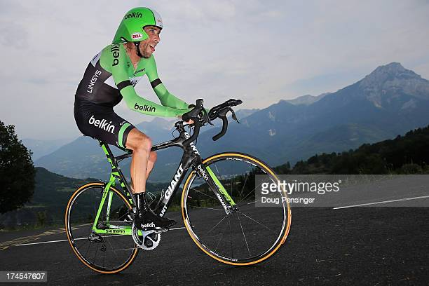 Laurens Ten Dam of the Netherlands riding for Belkin competes during stage seventeen of the 2013 Tour de France, a 32KM Individual Time Trial from...
