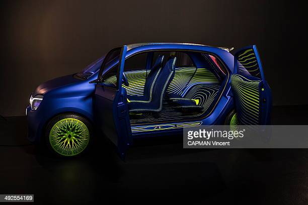 Laurens Van den Acker Senior Vice President Corporate Design at Renault Car company poses with the new concept car the Renault Twin'z on April 18...