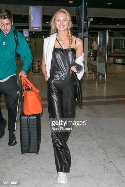 Laurens van Leeuwen and model Romee Strijd are seen arriving for the 71st annual Cannes Film Festival at Nice Airport on May 6 2018 in Nice France