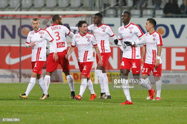 Laurent Abergel of Nancy celebrates scoring his goal during the Ligue 2 match between AS Nancy and AC Ajaccio on November 17 2017 in Nancy France