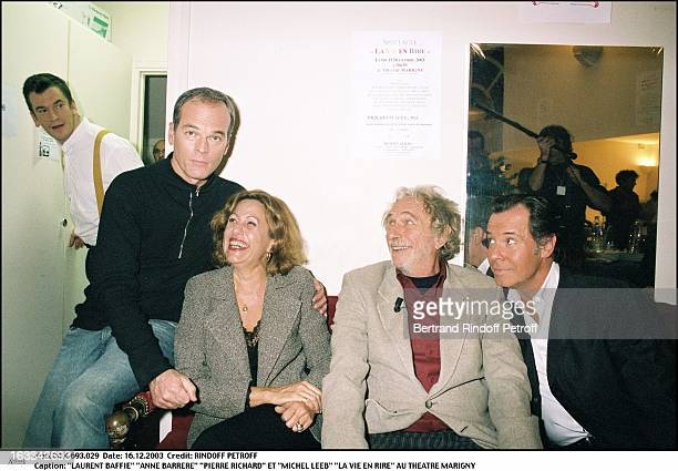 Laurent Baffie Anne Barrere Pierre Richard and Michel Leeb the play La Vie En Rire at the Marigny theater