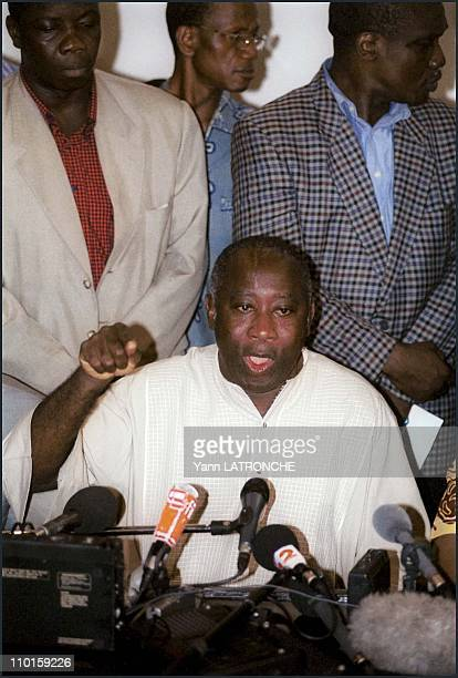 Laurent Bagboy and Robert Guei both claim they have won the presidential run in Abidjan Cote d'Ivoire on October 24 2000 Laurent Gbagbo's press...