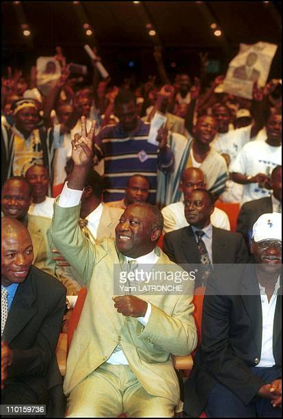 Laurent Bagboy FPI candidate for presidential elections in meeting in Abidjan Cote d'Ivoire on October 21 2000