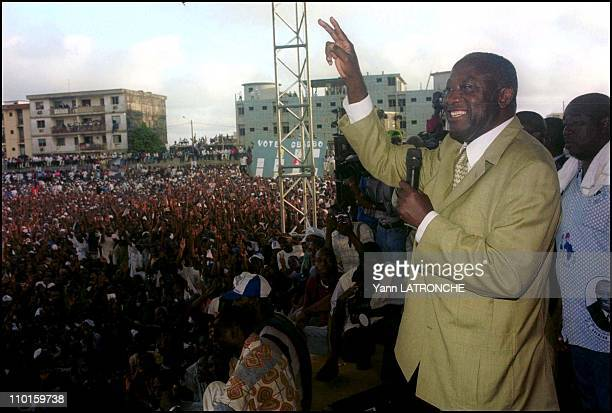 Laurent Bagboy FPI candidate for presidential elections in meeting in Abidjan Cote d'Ivoire on October 21 2000 In Yopougon stadium