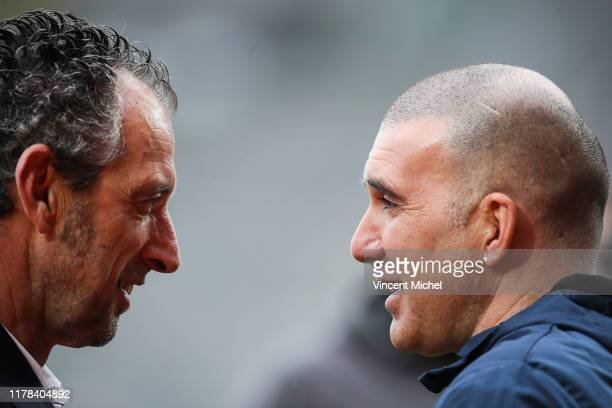 Laurent BATTLES headcoach of Troyes and Christophe LE ROUX of Lorient during the Ligue 2 match between Lorient and Troyes on October 26 2019 in...