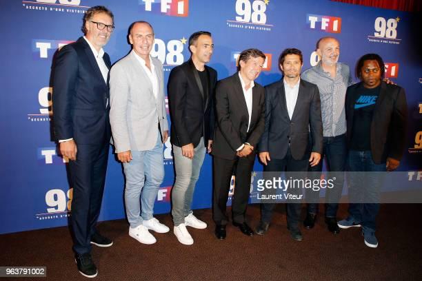 Laurent Blanc Alain Boghossian Youri Djorkaeff President of TF1 Gilles Pelisson Bixente Lizarazu Franck Leboeuf and Bernard Diomede attend '98Secret...