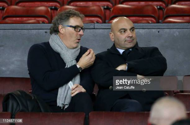 Laurent Blanc attends the UEFA Champions League Round of 16 First Leg match between Manchester United and Paris SaintGermain at Old Trafford stadium...