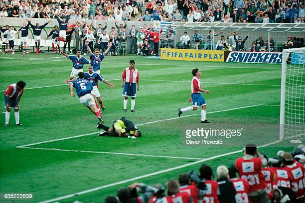 Laurent Blanc celebrates scoring the golden goal for France during a round of 16 match of 1998 FIFA World Cup against Paraguay