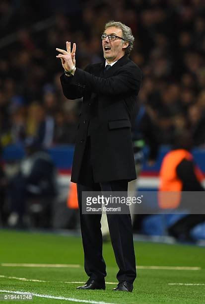 Laurent Blanc coach of Paris SaintGermain gestures during the UEFA Champions League Quarter Final First Leg match between Paris SaintGermain and...