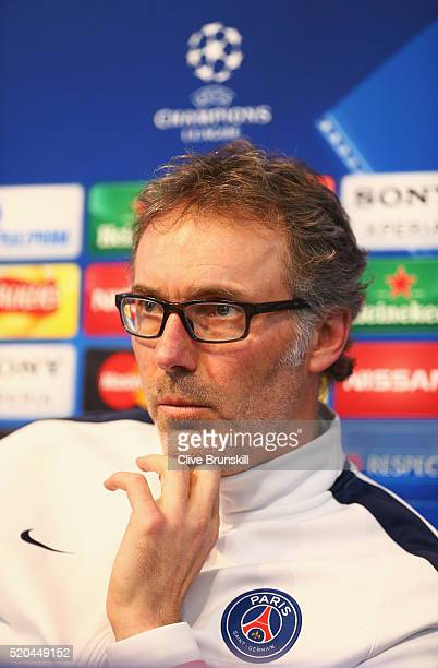 Laurent Blanc coach of Paris SaintGermain talks during a press conference ahead of the UEFA Champions League Quarter Final Second Leg match against...