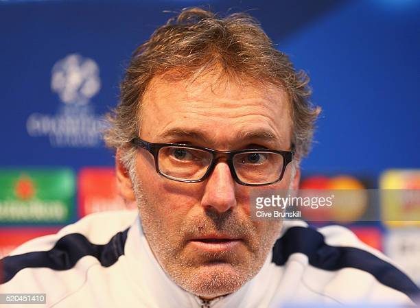 Laurent Blanc coach of Paris SaintGermain talks during a press conference ahead of the UEFA Champions League Quarter Final Second Leg match against...