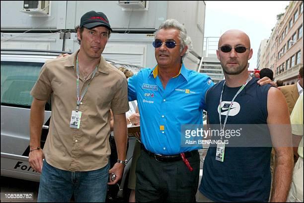 Laurent Blanc Flavio Briatore Fabien Barthez in Monaco on June 01 2003
