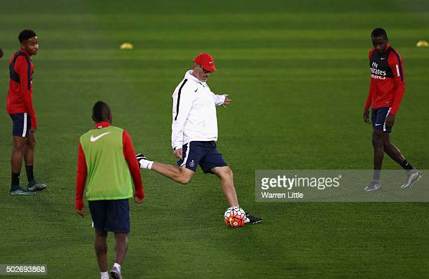 Laurent Blanc Head Coach of Paris SaintGermain pictured during a practice session ahead of a friendly match against Inter Milan pictured on December...