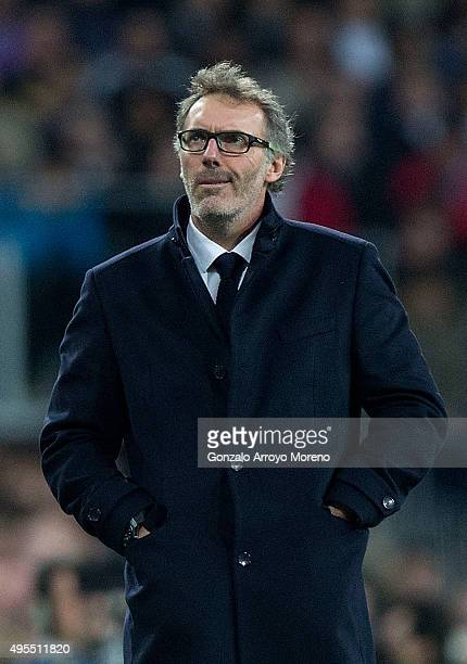 Laurent Blanc head coach of PSG looks on during the UEFA Champions League Group A match between Real Madrid CF and Paris SaintGermain at Estadio...