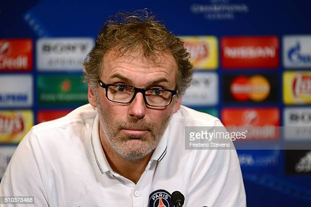 Laurent Blanc Head coach of PSG speaks at a press conference at Parc des Princes on February 15 2016 in Paris France Blanc labelled Serge Aurier...