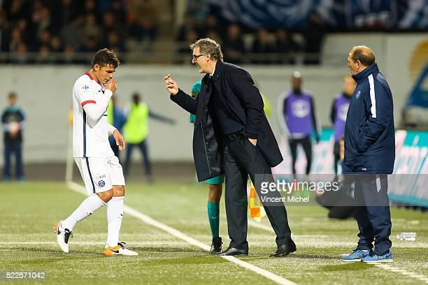 Laurent Blanc headcoach of Paris Saint-Germain and Thiago Silva of Paris Saint-Germain during the semi-final French Cup between Lorient and Paris...