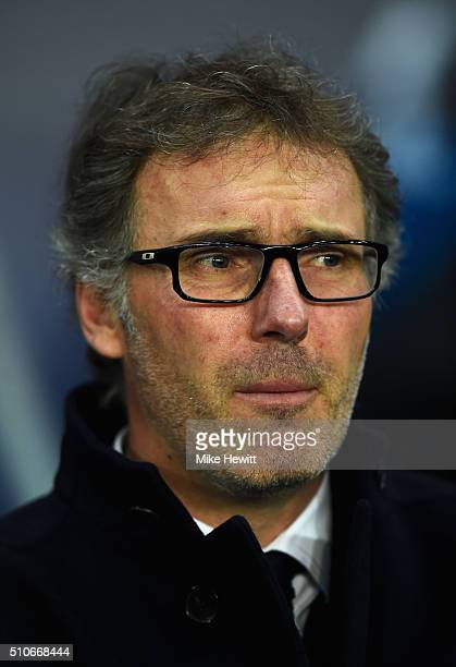 Laurent Blanc manager of Paris SaintGermain looks on prior to the UEFA Champions League round of 16 first leg match between Paris SaintGermain and...