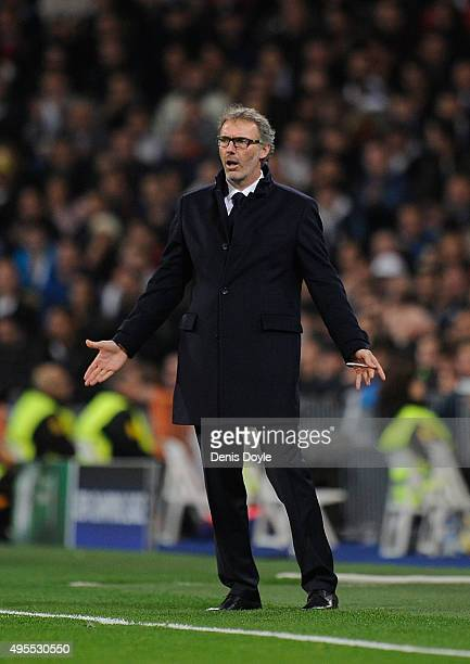 Laurent Blanc manager of Paris SaintGermain reacts during the UEFA Champions League Group A match between Real Madrid CF and Paris SaintGermain at...