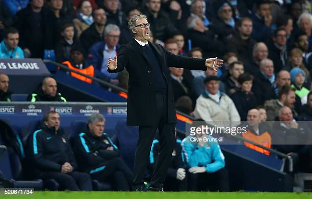 Laurent Blanc manager of Paris Saint-Germain reacts during the UEFA Champions League quarter final second leg match between Manchester City FC and...