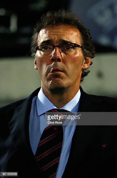 Laurent Blanc of Bordeaux looks on prior to the UEFA Champions League Group A match between Bordeaux and FC Bayern Muenchen at the Stade ChabanDelmas...