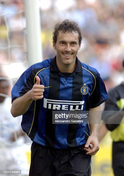 Laurent Blanc of FC Internazionale celebrates after scoring the goal during the Serie A 1999-00. Italy