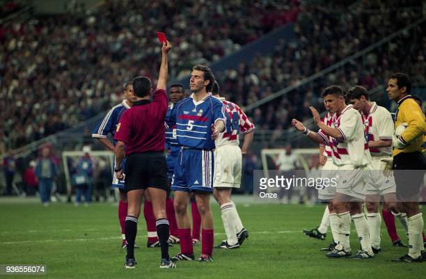 Laurent Blanc of France received a red card during the Soccer World Cup semi final match between France and Croatia on July 08th 1998 in Paris France...