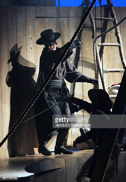 Laurent Bàn plays Zorro during a rehearsal of the musical directed by Christopher Renshaw Zorro on November 4 2009 at Paris' Folies Bergeres theater...