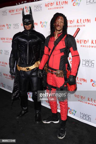Laurent Bourgeois and Larry Nicolas Bourgeois attend Heidi Klum's 18th annual Halloween party at Magic Hour Rooftop Bar Lounge on October 31 2017 in...