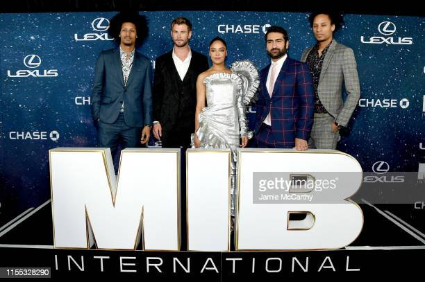 Laurent Bourgeois, Chris Hemsworth, Tessa Thompson, Kumail Nanjiani, and Larry Bourgeois at the World Premiere of Columbia Pictures' MEN IN BLACK™:...