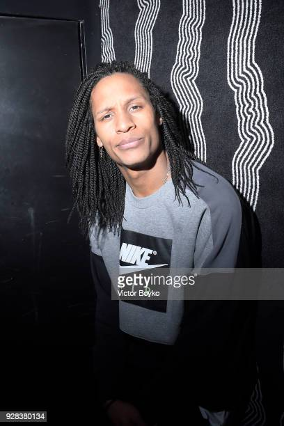 Laurent Bourgeois from Les Twins attends the Miu Miu after show as part of the Paris Fashion Week Womenswear Fall/Winter 2018/2019 on March 7 2018 in...