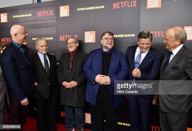 Laurent Bouzereau Lawrence Kasdan Steven Spielberg Guillermo del Toro Ted Sarandos and George Stevens Jr attend the Five Came Back world premiere at...