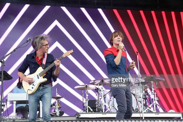Laurent Brancowitz and Thomas Mars of Phoenix perform in concert during the ACL Music Festival at Zilker Park on October 7, 2018 in Austin, Texas.