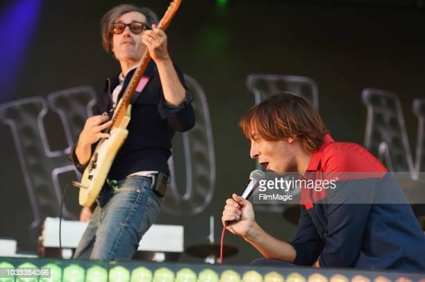 Laurent Brancowitz and Thomas Mars of Phoenix perform on the Scissor Stage during day 1 of Grandoozy on September 14 2018 in Denver Colorado