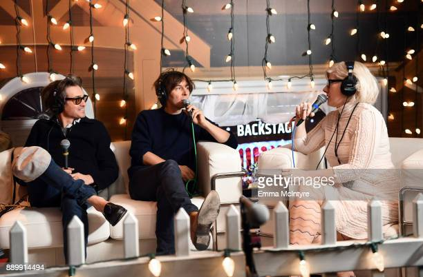 Laurent Brancowitz and Thomas Mars of Phoenix speak with Kat Corbett during an interview at KROQ Almost Acoustic Christmas 2017 at The Forum on...