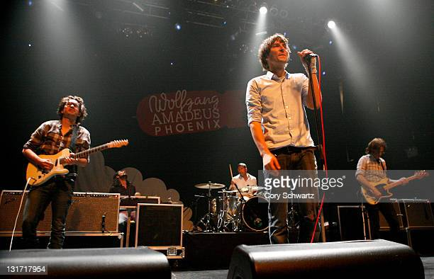 Laurent Brancowitz Thomas Mars and Deck D'Arcy of Phoenix performs at Terminal 5 on June 19 2009 in New York City
