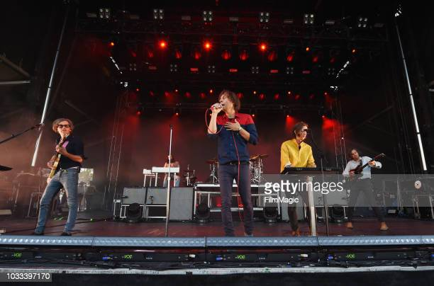 Laurent Brancowitz Thomas Mars Deck D'arcy and Christian Mazzalai of Phoenix perform on the Scissor Stage during day 1 of Grandoozy on September 14...