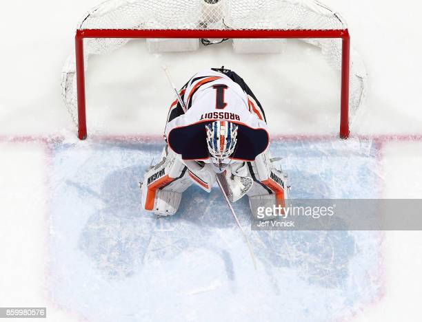 Laurent Brossoit of the Edmonton Oilers looks on from his crease during their NHL game against the Vancouver Canucks at Rogers Arena October 7 2017...