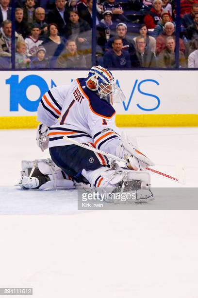 Laurent Brossoit of the Edmonton Oilers makes a save during the game against the Columbus Blue Jackets on December 12 2017 at Nationwide Arena in...