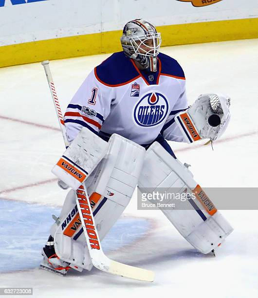 Laurent Brossoit of the Edmonton Oilers skates in warmups prior to the game against the Anaheim Ducks at the Honda Center on January 25 2017 in...