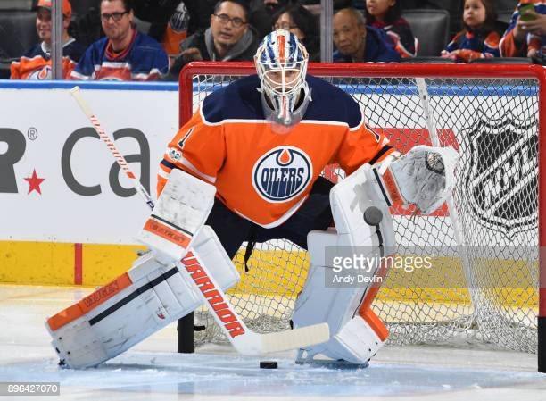 Laurent Brossoit of the Edmonton Oilers warms up prior to the game against the Nashville Predators on December 14 2017 at Rogers Place in Edmonton...