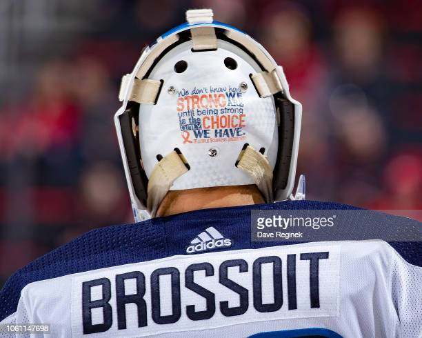 Laurent Brossoit of the Winnipeg Jets skates in warmups prior to an NHL game against the Detroit Red Wings at Little Caesars Arena on October 26 2018...