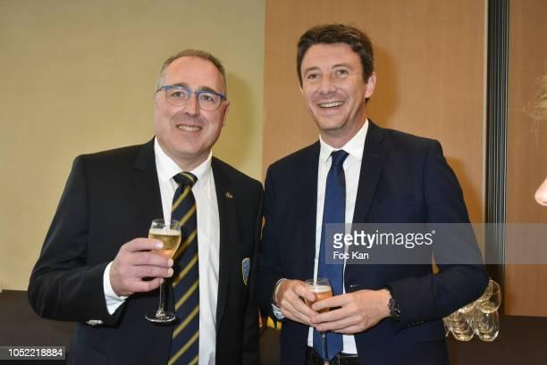 Laurent Callu President de La Boucherie et des Metiers De La Viande and government representative Benjamin Griveaux attend The Federation Boucherie...
