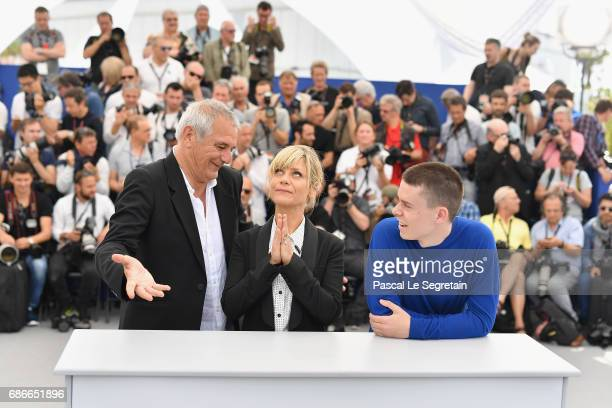 Laurent Cantet Marina Fois and Matthieu Lucci attend the 'L'Atelier' photocall during the 70th annual Cannes Film Festival at Palais des Festivals on...
