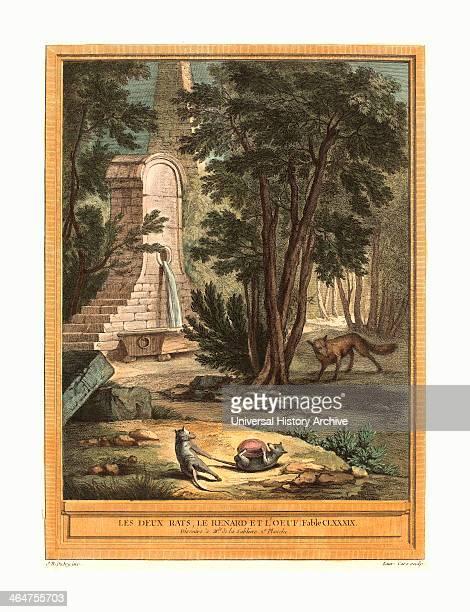 Laurent Cars After Jean Baptiste Oudry Les Deux Rats Le Renard Et L'oeuf Published 1759 Hand Colored Etching